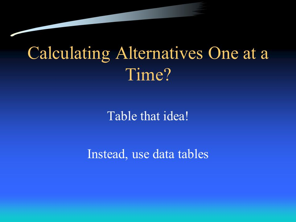 Calculating Alternatives One at a Time? Table that idea! Instead, use data tables