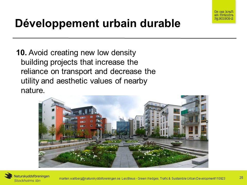 Développement urbain durable 28 10.