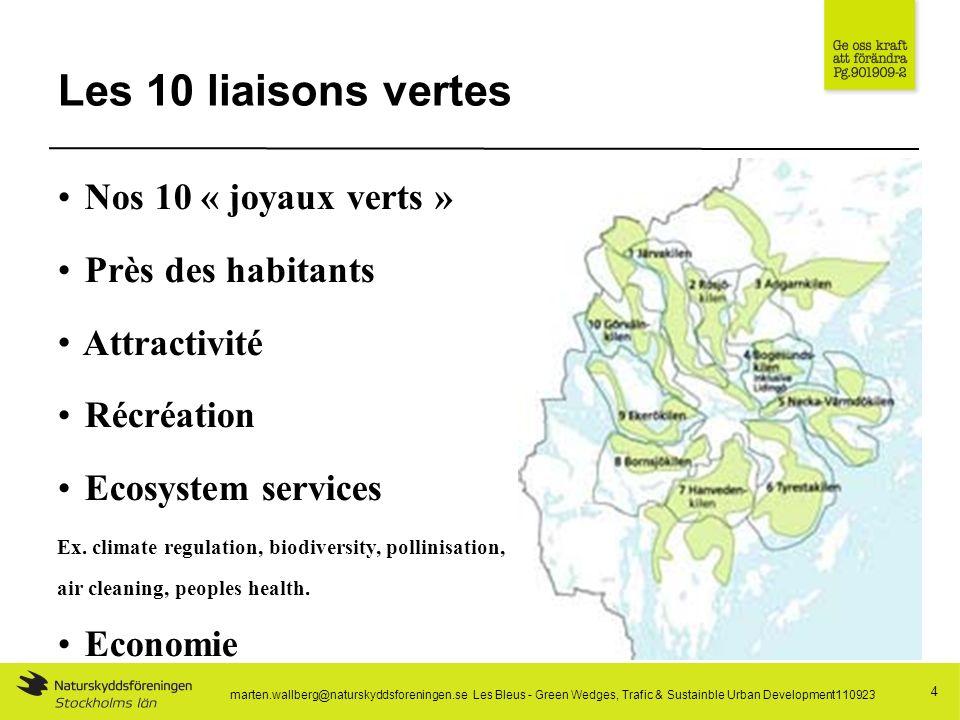 Les 10 liaisons vertes 4 Nos 10 « joyaux verts » Près des habitants Attractivité Récréation Ecosystem services Ex.
