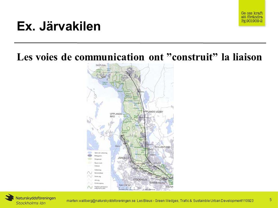Ex. Järvakilen 5 Les voies de communication ont construit la liaison marten.wallberg@naturskyddsforeningen.se Les Bleus - Green Wedges, Trafic & Susta