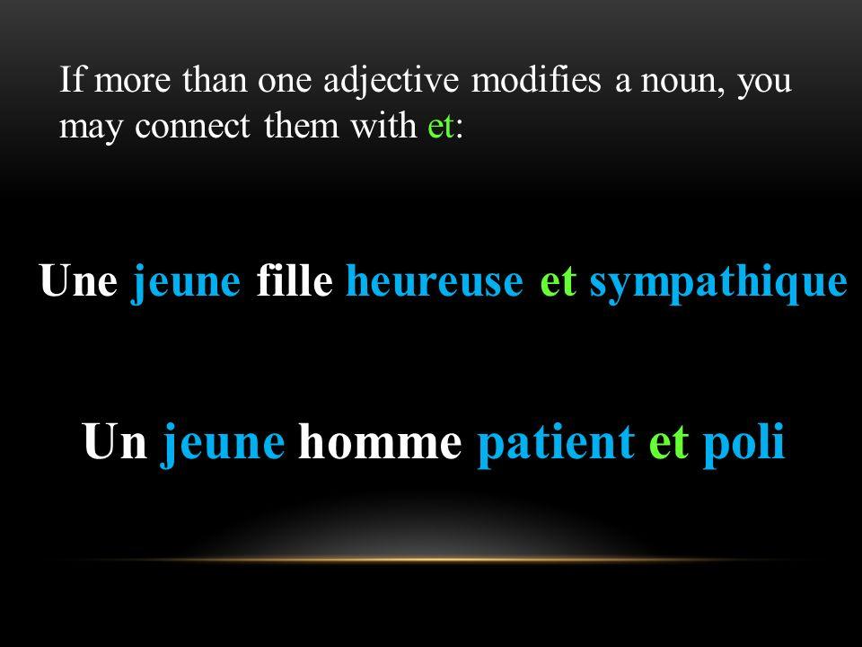 Adjectives whose singular masculine form ends in -é add an unaccented -e to form the singular feminine: Le garçon réservé La fille réservée Adjectives
