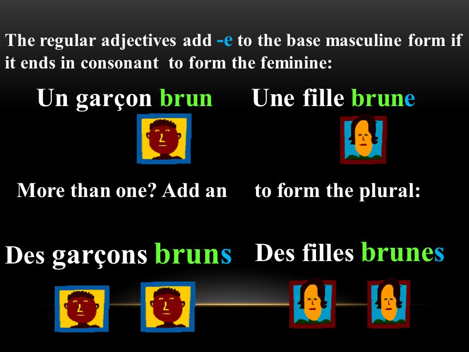 1. French adjectives change to agree in gender and number with the nouns that they modify, which means there can be up to four forms of each adjective