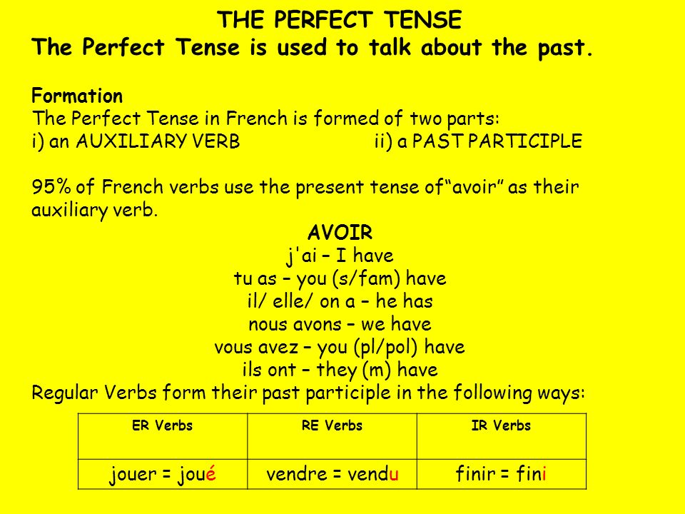 THE PERFECT TENSE The Perfect Tense is used to talk about the past. Formation The Perfect Tense in French is formed of two parts: i) an AUXILIARY VERB