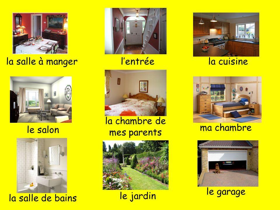 la salle à mangerlentréela cuisine le salon la chambre de mes parents ma chambre la salle de bains le jardin le garage