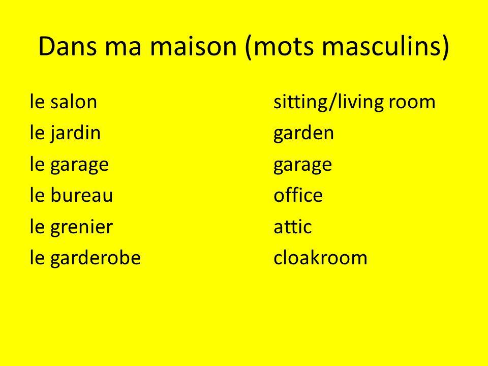 Dans ma maison (mots masculins) le salonsitting/living room le jardingarden le garagegarage le bureauoffice le grenierattic le garderobecloakroom