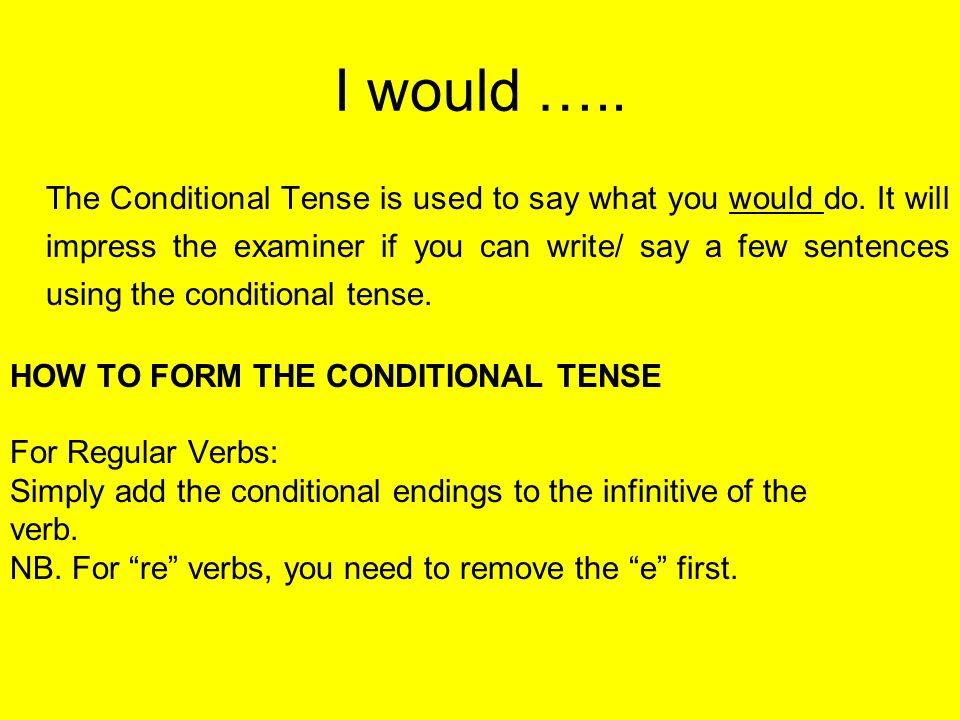 Endings for the conditional tense je ________ais tu ________ais il/elle/on______ait nous ________ions vous ________iez Ils/ elles _____aient e.g.