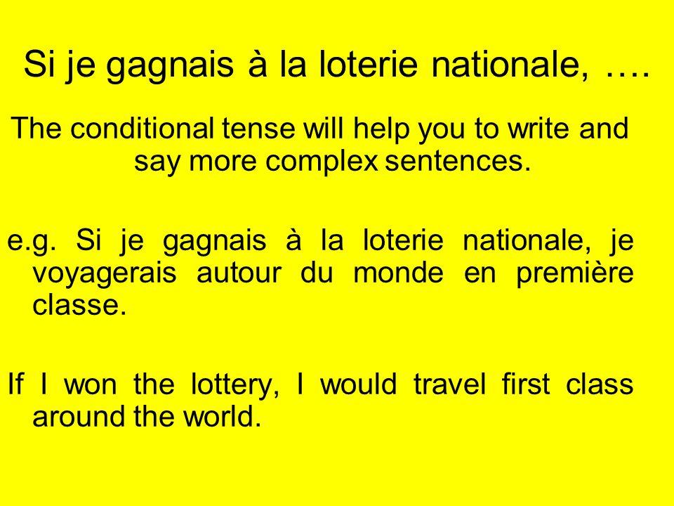 Si je gagnais à la loterie nationale, ….