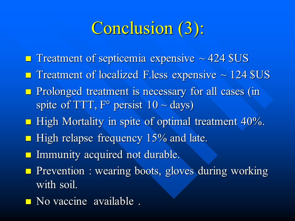Conclusion (3): Treatment of septicemia expensive ~ 424 $US Treatment of septicemia expensive ~ 424 $US Treatment of localized F.less expensive ~ 124