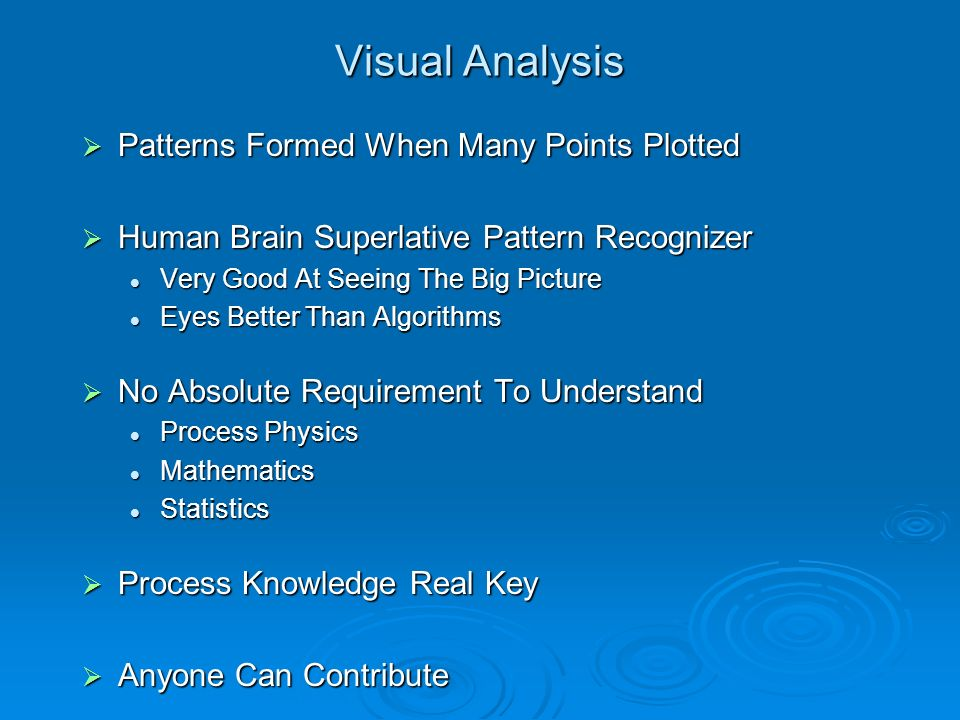 Visual Analysis Patterns Formed When Many Points Plotted Patterns Formed When Many Points Plotted Human Brain Superlative Pattern Recognizer Human Bra