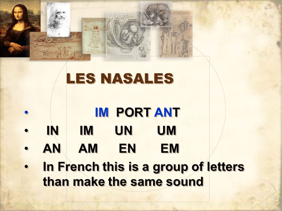 LES NASALES IM PORT ANT IN IM UN UM AN AM EN EM In French this is a group of letters than make the same sound IM PORT ANT IN IM UN UM AN AM EN EM In F