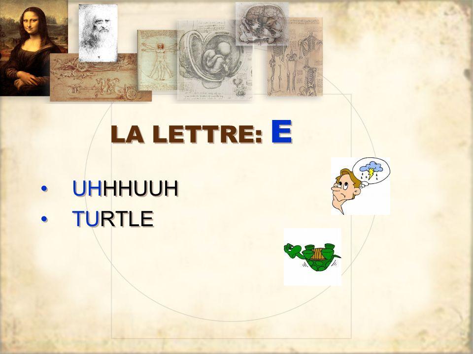 LA LETTRE: E UHHHUUH TURTLE UHHHUUH TURTLE