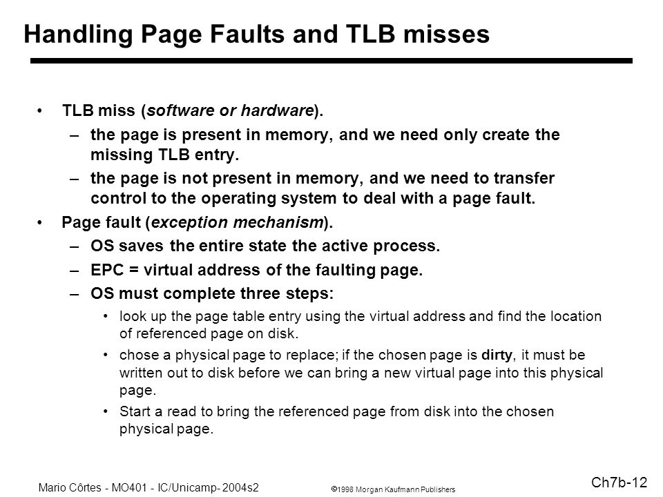 1998 Morgan Kaufmann Publishers Mario Côrtes - MO401 - IC/Unicamp- 2004s2 Ch7b-12 Handling Page Faults and TLB misses TLB miss (software or hardware).