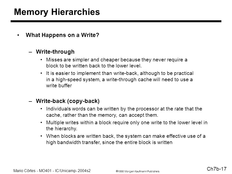 1998 Morgan Kaufmann Publishers Mario Côrtes - MO401 - IC/Unicamp- 2004s2 Ch7b-17 Memory Hierarchies What Happens on a Write.