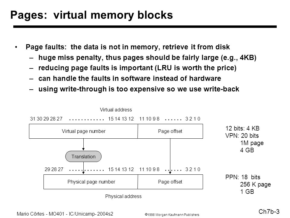 1998 Morgan Kaufmann Publishers Mario Côrtes - MO401 - IC/Unicamp- 2004s2 Ch7b-3 Pages: virtual memory blocks Page faults: the data is not in memory, retrieve it from disk –huge miss penalty, thus pages should be fairly large (e.g., 4KB) –reducing page faults is important (LRU is worth the price) –can handle the faults in software instead of hardware –using write-through is too expensive so we use write-back Page offsetVirtual page number Virtual address Page offsetPhysical page number Physical address Translation 12 bits: 4 KB VPN: 20 bits 1M page 4 GB PPN: 18 bits 256 K page 1 GB