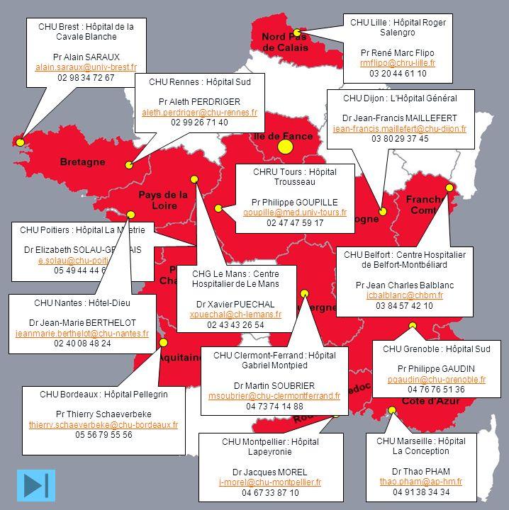 CHU Brest : Hôpital de la Cavale Blanche Pr Alain SARAUX alain.saraux@univ-brest.fr 02 98 34 72 67 CHU Lille : Hôpital Roger Salengro Pr René Marc Fli