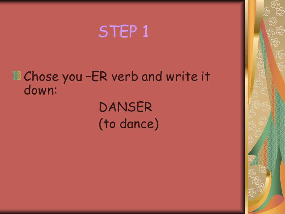 How do you form the present tense of –ER verbs. It is very easy.