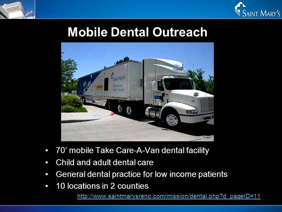 Mobile Dental Outreach 70 mobile Take Care-A-Van dental facility Child and adult dental care General dental practice for low income patients 10 locati