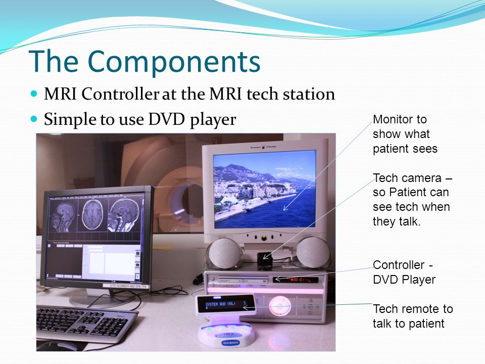The Components MRI Controller at the MRI tech station Simple to use DVD player Monitor to show what patient sees Tech camera – so Patient can see tech