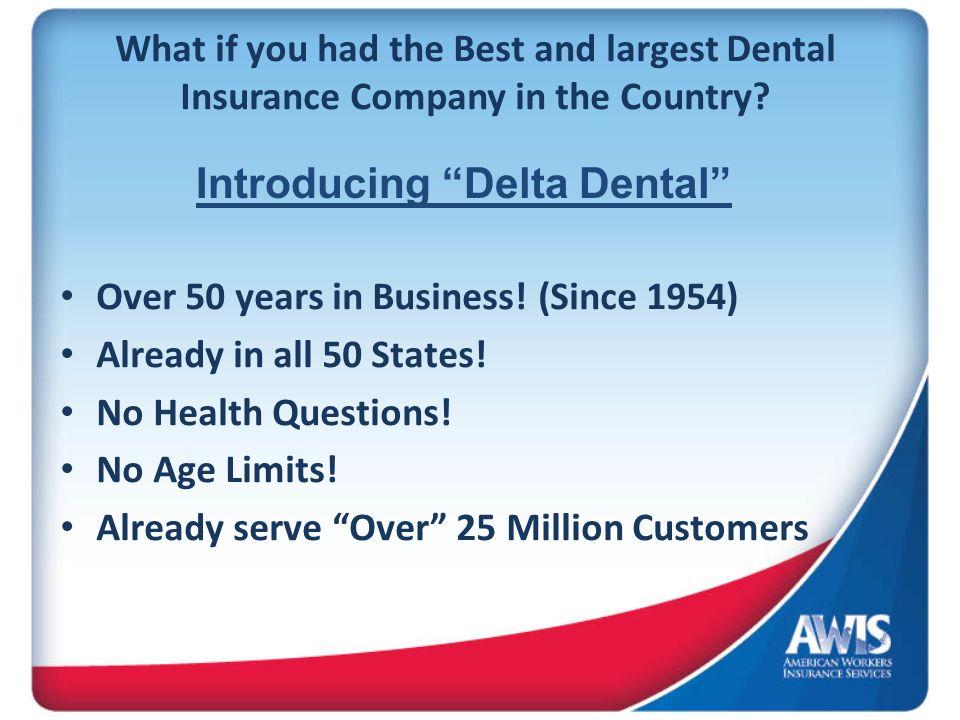 What if you had the Best and largest Dental Insurance Company in the Country? Over 50 years in Business! (Since 1954) Already in all 50 States! No Hea