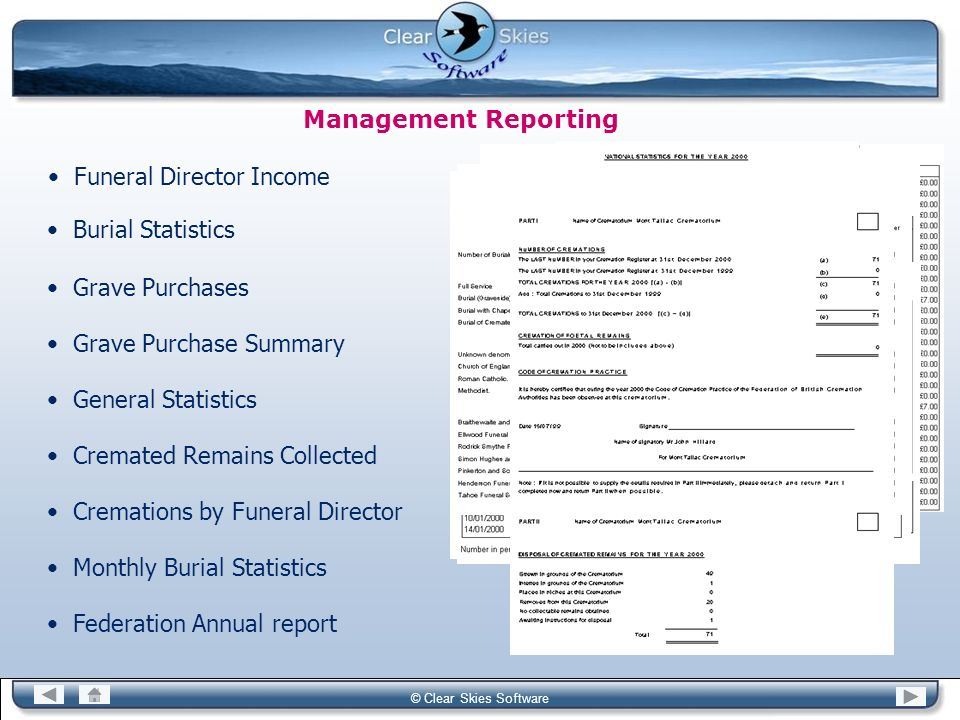 Bacas NG © Clear Skies Software Management Reporting Funeral Director Income Burial Statistics Grave Purchases Grave Purchase Summary General Statisti