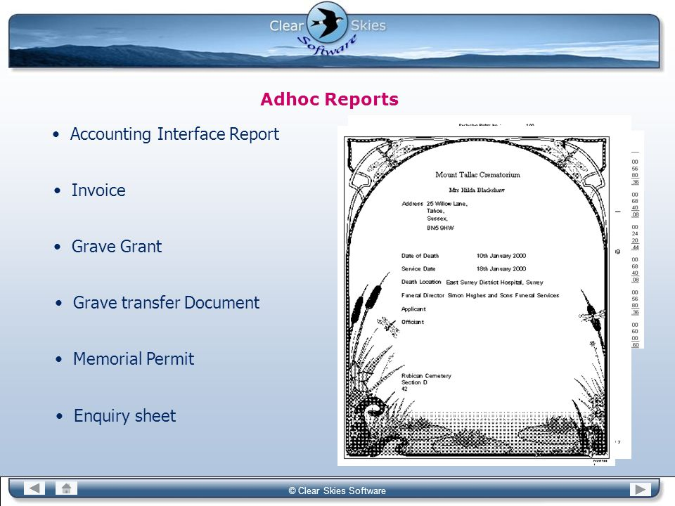 Bacas NG © Clear Skies Software Adhoc Reports Accounting Interface Report Invoice Enquiry sheet Grave Grant Grave transfer Document Memorial Permit
