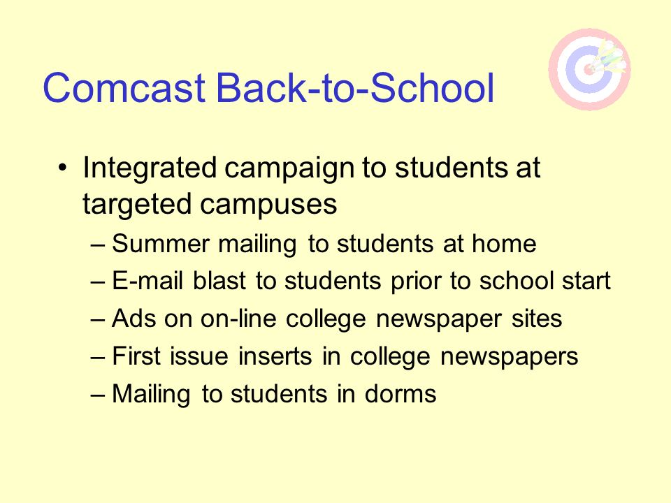 Integrated campaign to students at targeted campuses –Summer mailing to students at home –E-mail blast to students prior to school start –Ads on on-li