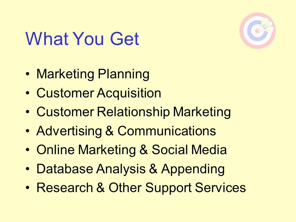 What You Get Marketing Planning Customer Acquisition Customer Relationship Marketing Advertising & Communications Online Marketing & Social Media Data