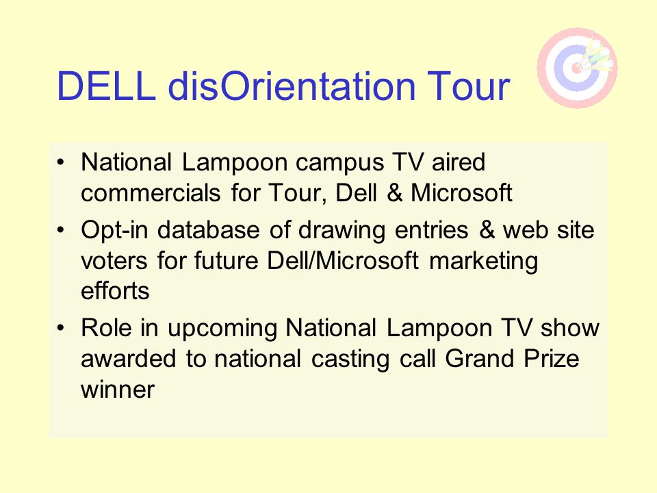 DELL disOrientation Tour National Lampoon campus TV aired commercials for Tour, Dell & Microsoft Opt-in database of drawing entries & web site voters