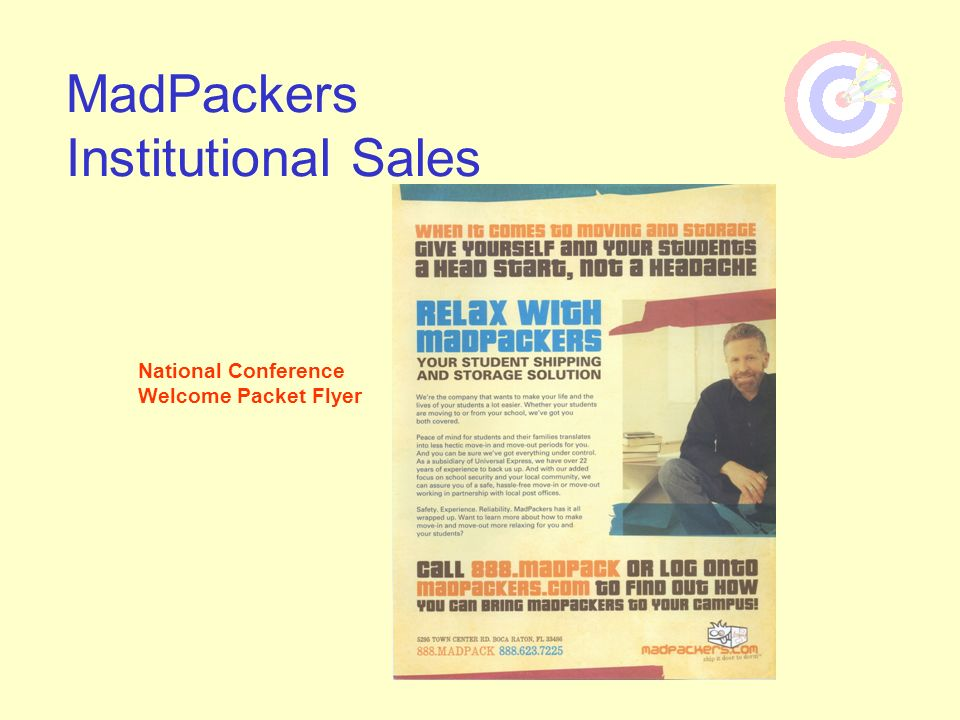 MadPackers Institutional Sales National Conference Welcome Packet Flyer