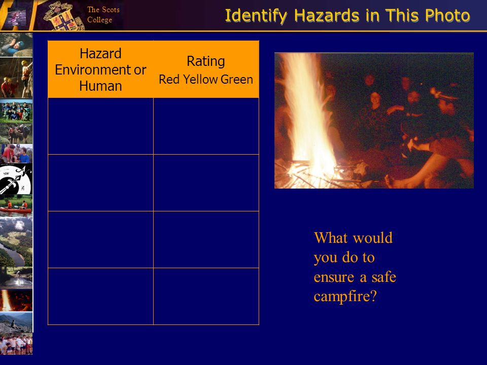 The Scots College Identify Hazards in This Photo Hazard Environment or Human Rating Red Yellow Green What would you do to ensure a safe campfire?