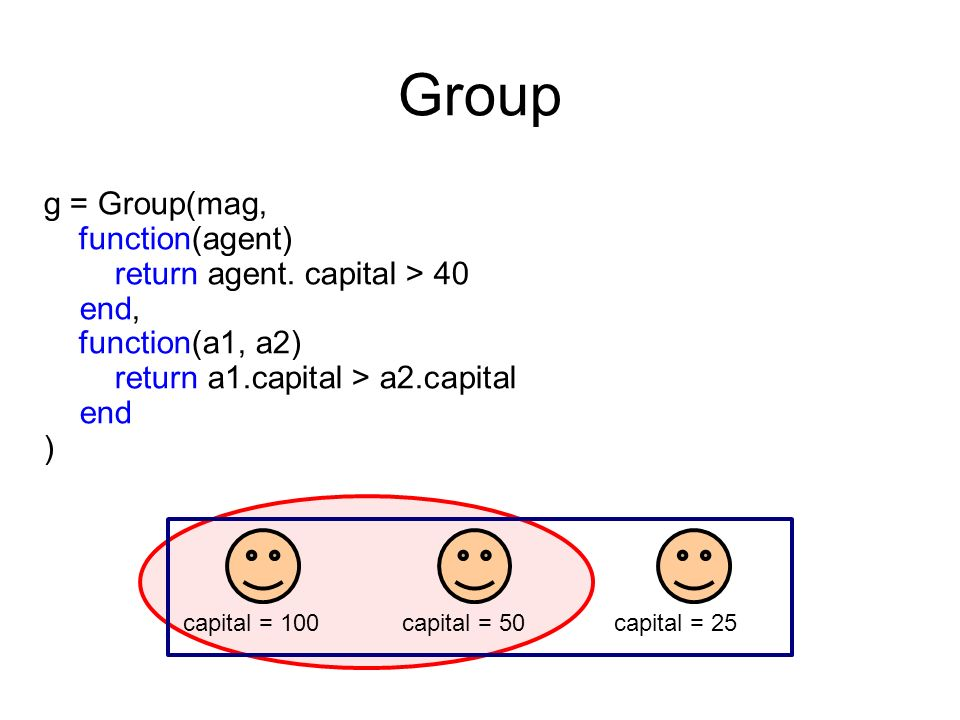g = Group(mag, function(agent) return agent. capital > 40 end, function(a1, a2) return a1.capital > a2.capital end ) Group capital = 100capital = 50ca