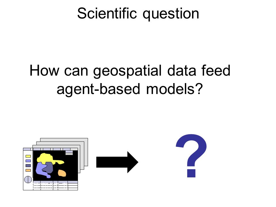 How can geospatial data feed agent-based models. Scientific question .