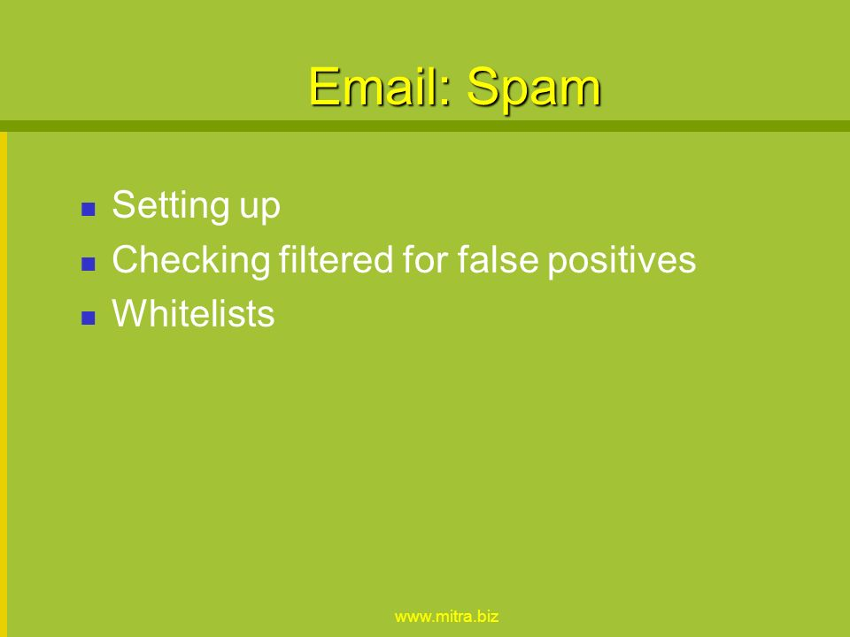 www.mitra.biz Effective use of email Folders Filtering Replying - to all, including Etiquette Forwarding Attachments & Viruses