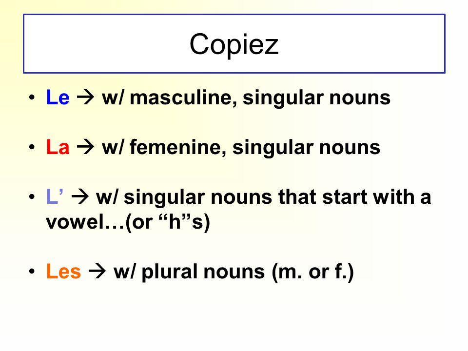 Copiez Le w/ masculine, singular nouns La w/ femenine, singular nouns L w/ singular nouns that start with a vowel…(or hs) Les w/ plural nouns (m. or f