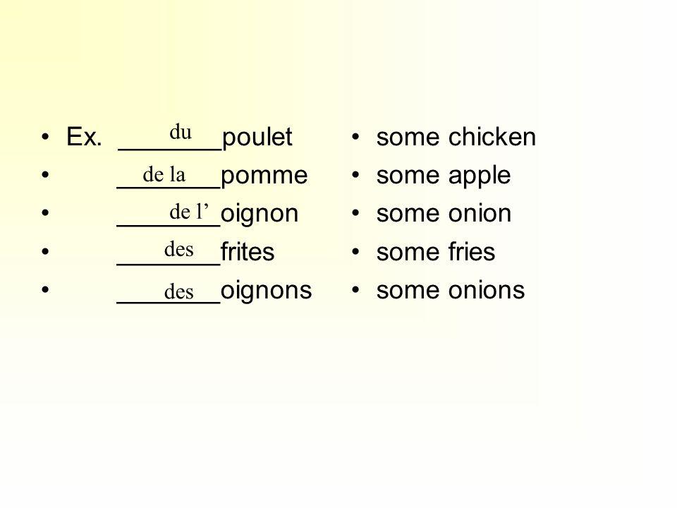 Ex. _______poulet _______pomme _______oignon _______frites _______oignons some chicken some apple some onion some fries some onions du des de la de l