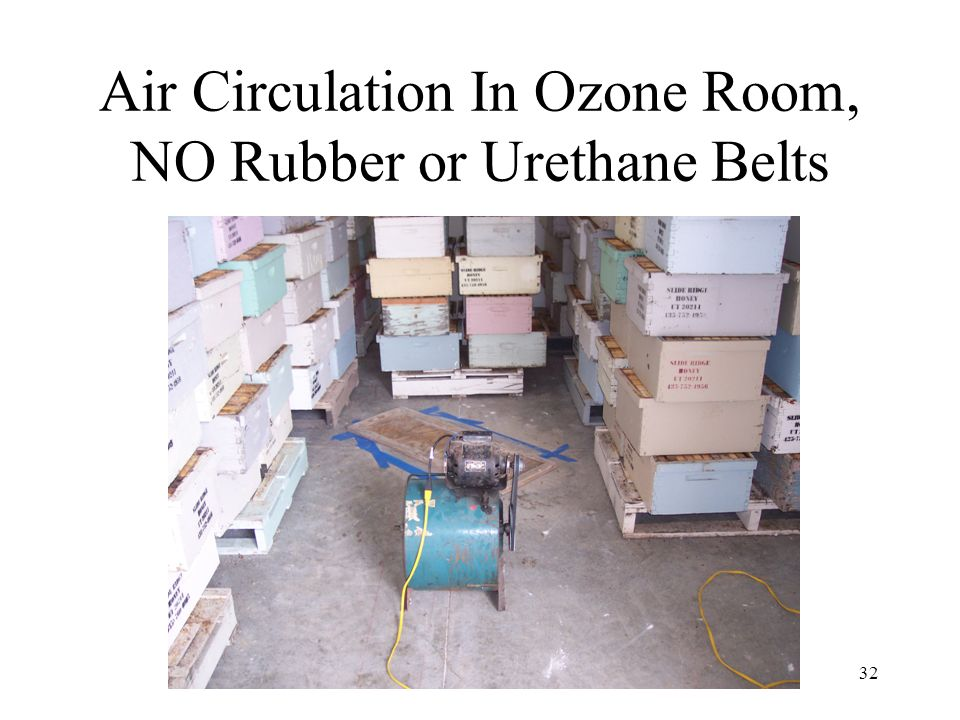 32 Air Circulation In Ozone Room, NO Rubber or Urethane Belts