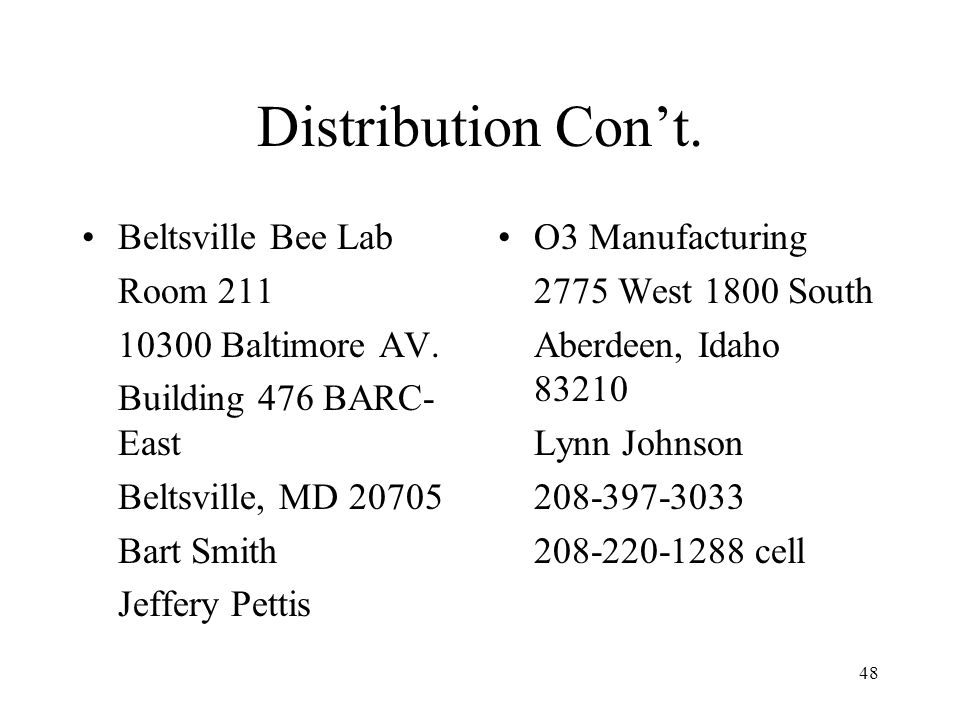 48 Distribution Cont. Beltsville Bee Lab Room 211 10300 Baltimore AV. Building 476 BARC- East Beltsville, MD 20705 Bart Smith Jeffery Pettis O3 Manufa
