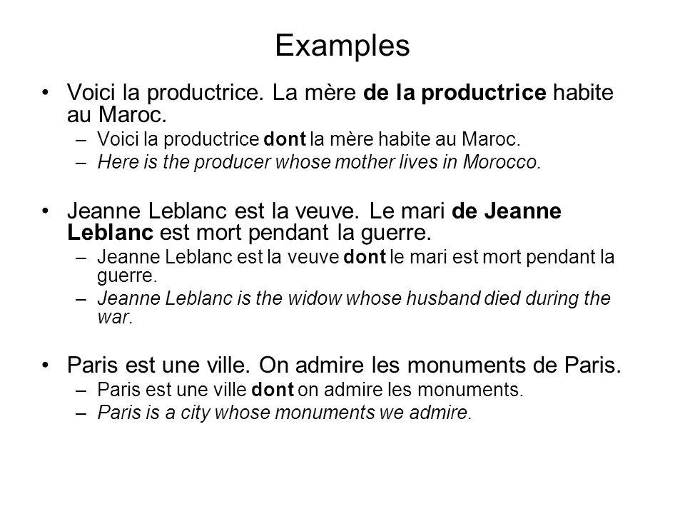 Examples Voici la productrice. La mère de la productrice habite au Maroc. –Voici la productrice dont la mère habite au Maroc. –Here is the producer wh