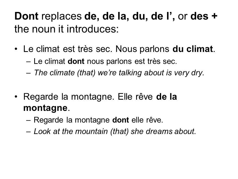 Dont replaces de, de la, du, de l, or des + the noun it introduces: Le climat est très sec. Nous parlons du climat. –Le climat dont nous parlons est t