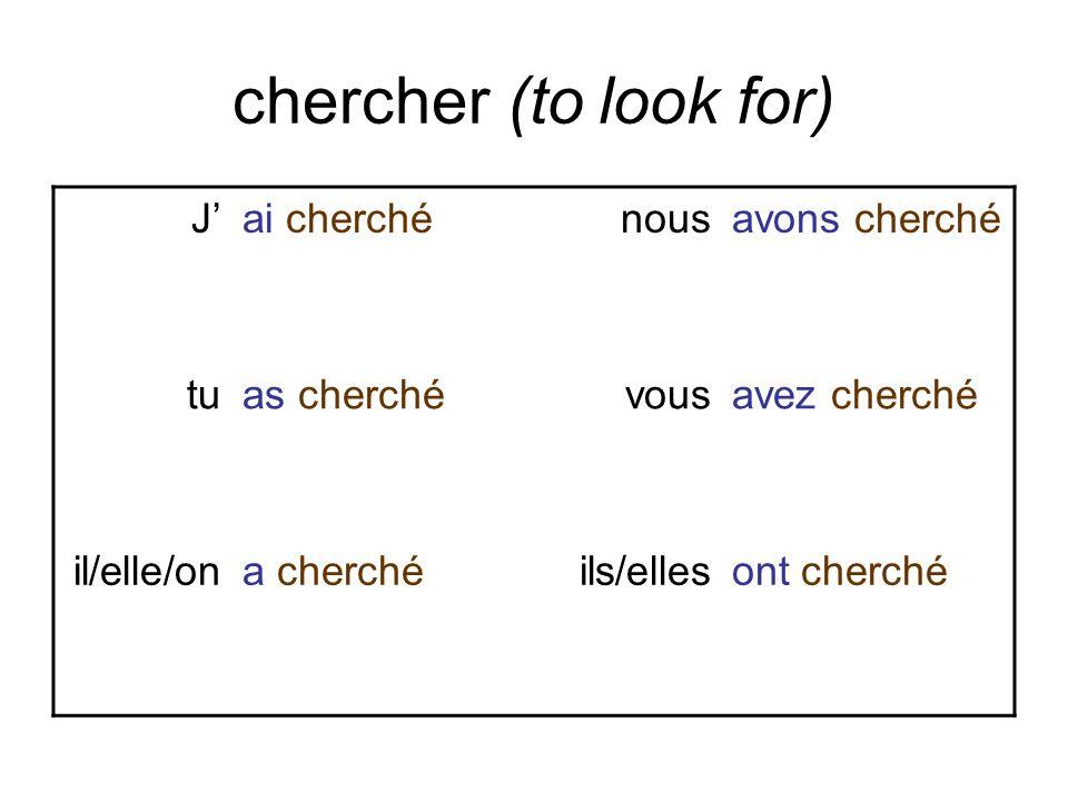chercher (to look for) Jai cherchénousavons cherché tuas cherchévousavez cherché il/elle/ona cherchéils/ellesont cherché