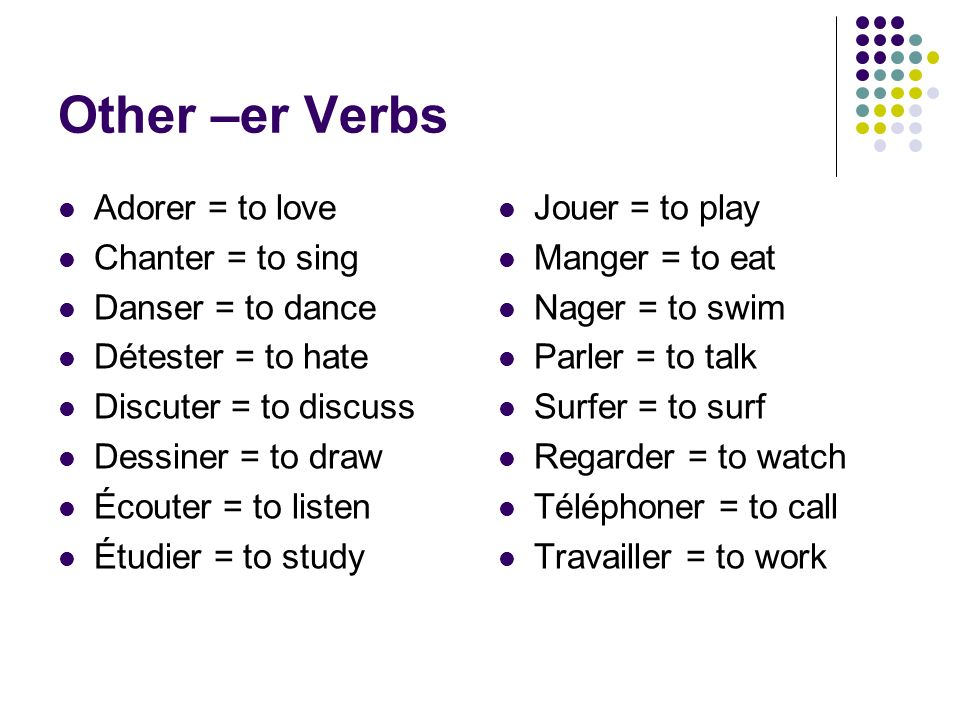 Other –er Verbs Adorer = to love Chanter = to sing Danser = to dance Détester = to hate Discuter = to discuss Dessiner = to draw Écouter = to listen É