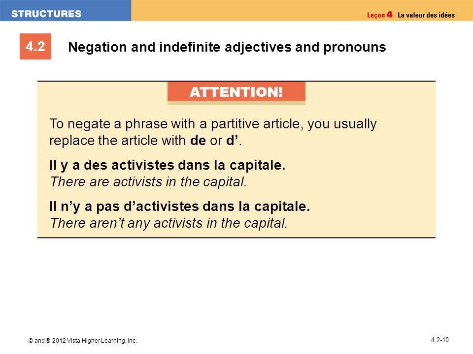 4.2 © and ® 2012 Vista Higher Learning, Inc. 4.2-10 Negation and indefinite adjectives and pronouns ATTENTION! To negate a phrase with a partitive art