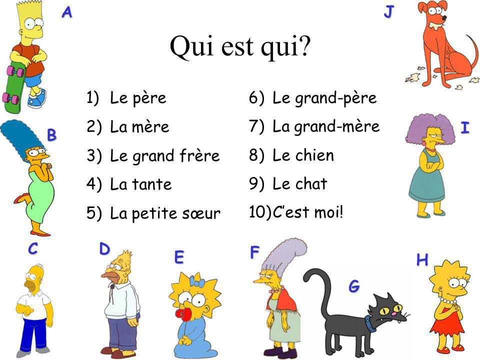 6)Le grand-père 7)La grand-mère 8)Le chien 9)Le chat 10)Cest moi! Qui est qui?AB C H I 1)Le père 2)La mère 3)Le grand frère 4)La tante 5)La petite sœu