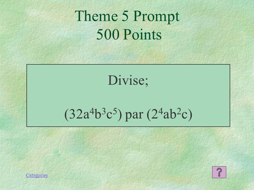 Categories 5x 2 y 4 Theme 5 Response 400 Points