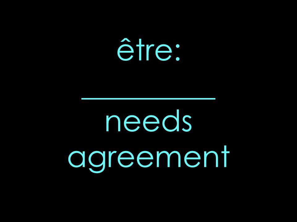 être: _________ needs agreement
