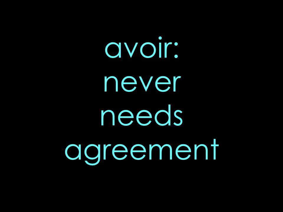 avoir: never needs agreement