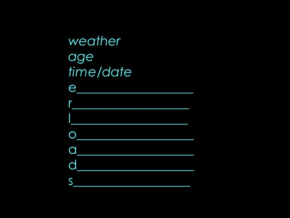 weather age time/date e__________________ r__________________ l__________________ o__________________ a__________________ d__________________ s_______