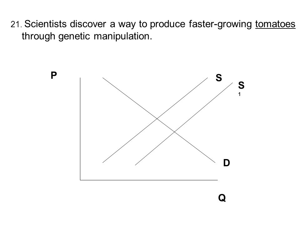 21. Scientists discover a way to produce faster-growing tomatoes through genetic manipulation. P Q S D S1S1