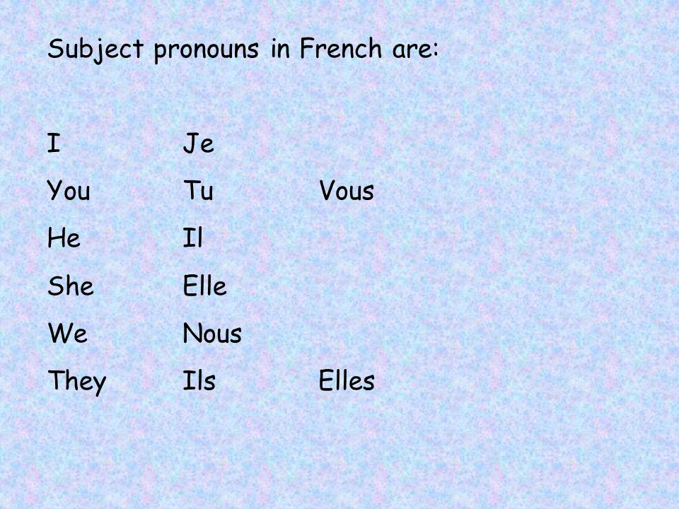 Subject pronouns in French are: IJe YouTuVous HeIl SheElle WeNous TheyIlsElles