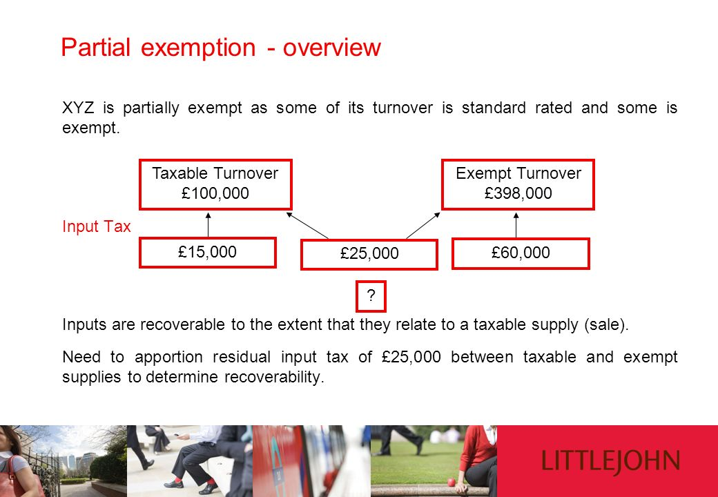 Partial exemption - overview XYZ is partially exempt as some of its turnover is standard rated and some is exempt. Input Tax Inputs are recoverable to